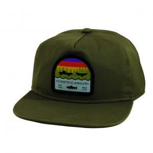 SA Hat Flat Brim Trout Patch Olive